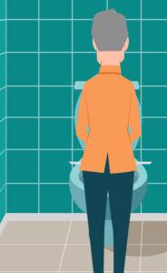 man urinate into iuflow uroflowmeter